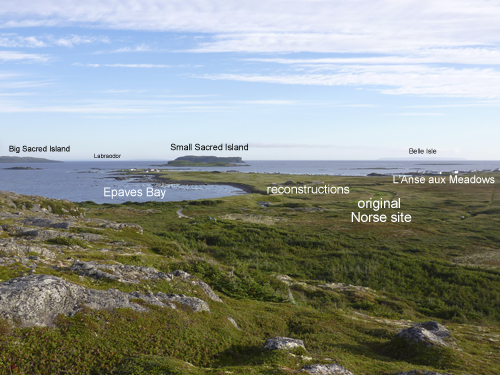 Overlooking the site of the only Norse settlement found in the New World so far