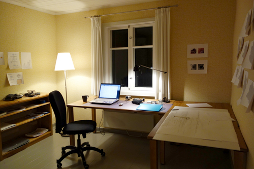 my workspace in the farmhand cottage